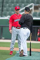 Lakewood BlueClaws manager Marty Malloy (left) chats with Kannapolis Intimidators manager Justin Jirschele (right) prior to their game at Kannapolis Intimidators Stadium on April 6, 2017 in Kannapolis, North Carolina.  The BlueClaws defeated the Intimidators 7-5.  (Brian Westerholt/Four Seam Images)