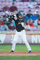 Salem-Keizer Volcanoes catcher Will Albertson (1) at bat during a Northwest League game against the Eugene Emeralds at Volcanoes Stadium on August 31, 2018 in Keizer, Oregon. The Eugene Emeralds defeated the Salem-Keizer Volcanoes by a score of 7-3. (Zachary Lucy/Four Seam Images)