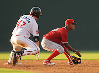 Infielder Edgar Duran (19) of the Lakewood BlueClaws waits for the throw from right field as Drew Hedman of the Greenville Drive slides safely into second base with a double in a game on July 12, 2011, at Fluor Field at the West End in Greenville, South Carolina. (Tom Priddy/Four Seam Images)