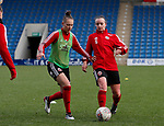 Naomi Hartley and Kasia Lipka of Sheffield Utd warmup  during the The FA Women's Championship match at the Proact Stadium, Chesterfield. Picture date: 8th December 2019. Picture credit should read: Simon Bellis/Sportimage
