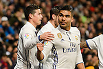 Real Madrid's Carlos Henrique Casemiro and James Rodriguez and Sevilla FC's XXX during Copa del Rey match between Real Madrid and Sevilla FC at Santiago Bernabeu Stadium in Madrid, Spain. January 04, 2017. (ALTERPHOTOS/BorjaB.Hojas)