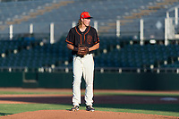AZL Giants Orange relief pitcher Ben Strahm (13) gets ready to deliver a pitch during an Arizona League game against the AZL Rangers at Scottsdale Stadium on August 4, 2018 in Scottsdale, Arizona. The AZL Giants Black defeated the AZL Rangers by a score of 3-2 in the first game of a doubleheader. (Zachary Lucy/Four Seam Images)