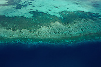 Aerial of reef texture and a big deep dropoff, Palau Micronesia