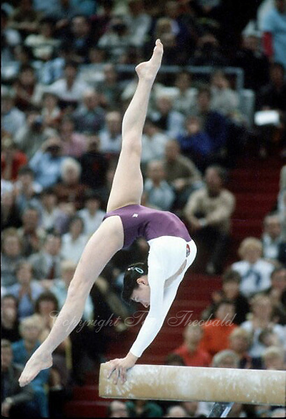 November 23, 1981; Moscow, Soviet Union; Artistic gymnast Svetlana Grozdova of Soviet Union performs balance beam exhibition at finish of 1981 World Championships in Moscow, Soviet Union..(©) Copyright 1981 Tom Theobald..Photo note: Last role of film with 15 frames left and Svetlana's routine began. This over-arch flexibility was taken last frames.