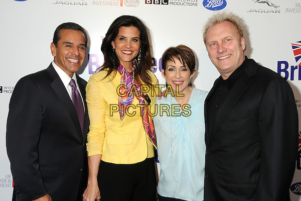 Antonio Villaraigosa, Lu Parker, Patricia Heaton, David Hunt.BritWeek 2012 Official Launch held at a Private Residence, Los Angeles, California, USA..April 24th, 2012.half length jacket suit scarf couple black white blue married husband wife  .CAP/ADM/BP.©Byron Purvis/AdMedia/Capital Pictures.