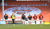 Blackpool players during the pre-match warm-up <br /> <br /> Photographer Kevin Barnes/CameraSport<br /> <br /> The EFL Sky Bet League One - Blackpool v Plymouth Argyle - Saturday 30th March 2019 - Bloomfield Road - Blackpool<br /> <br /> World Copyright © 2019 CameraSport. All rights reserved. 43 Linden Ave. Countesthorpe. Leicester. England. LE8 5PG - Tel: +44 (0) 116 277 4147 - admin@camerasport.com - www.camerasport.com
