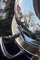 """Europe/France/Provence-Alpes-Côte d'Azur/06/Alpes-Maritimes/Cannes Détail d'une d'une table à découper en argent au restaurant d """"La Palme d'Or"""" de l'Hotel Martinez"""