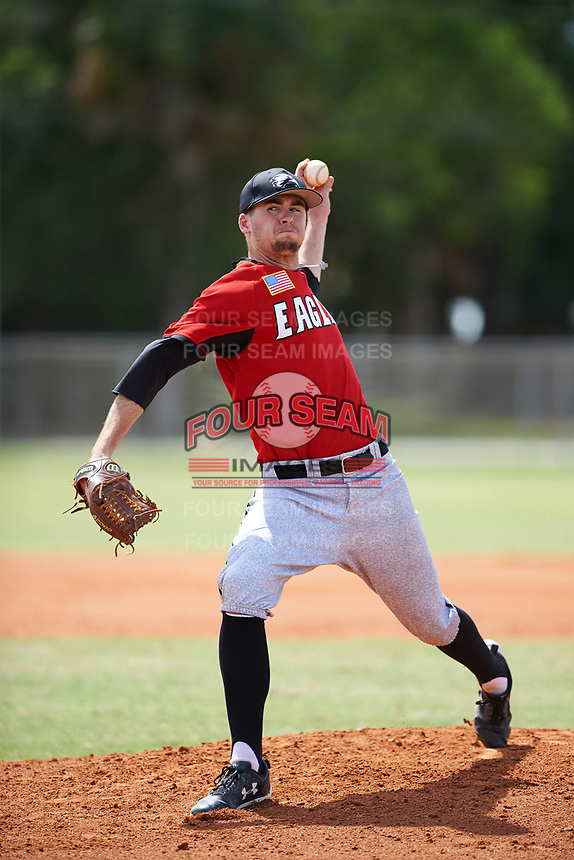 Edgewood College Eagles pitcher Mason Maziarka (33) delivers a pitch during a game against the New York University Violets on March 14, 2017 at Terry Park in Fort Myers, Florida.  NYU defeated Edgewood 12-7.  (Mike Janes/Four Seam Images)