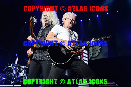 WEST PALM BEACH, FL - JULY 20: Bruce Hall and Kevin Cronin of REO Speedwagon perform at The Coral Sky Amphitheatre on July 20, 2018 in West Palm Beach Florida. Credit Larry Marano © 2018