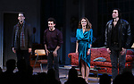 "David Furr, Brandon Uranowitz, Keri Russell, Adam Driver during the Broadway Opening Night Curtain Call for Landford Wilson's ""Burn This""  at Hudson Theatre on April 15, 2019 in New York City."