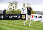 Scotland's  Alan Hansen Hits a tee shot off the 3rd tee..Celebrity Cup at Golf Live  - Day 2 - Celtic Manor Resort - Saturday 11th  May  2013 - Newport ..© www.sportingwales.com- PLEASE CREDIT IAN COOK
