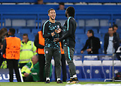 12th September 2017, Stamford Bridge, London, England; UEFA Champions League Group stage, Chelsea versus Qarabag FK; Eden Hazard of Chelsea sharing a joke with Victor Moses of Chelsea during pre match warm up