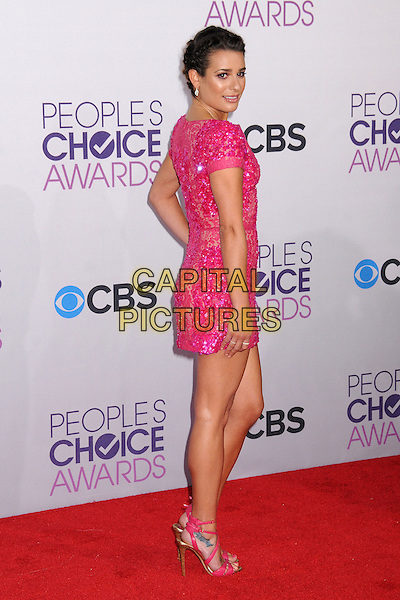Lea Michele .People's Choice Awards 2013 - Arrivals held at Nokia Theatre L.A. Live, Los Angeles, California, USA..January 9th, 2013.full length pink dress lace sequins sequined beads beaded side looking over shoulder .CAP/ADM/BP.©Byron Purvis/AdMedia/Capital Pictures.