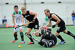 The Hague, Netherlands, June 03: Blair Tarrant #22 and Hugo Inglis #29 of New Zealand fight for the ball during the field hockey group match (Men - Group B) between South Africa and the Black Sticks of New Zealand on June 3, 2014 during the World Cup 2014 at GreenFields Stadium in The Hague, Netherlands. Final score 0:5 (0:3) (Photo by Dirk Markgraf / www.265-images.com) *** Local caption ***