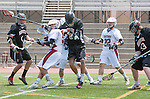 Torrance, CA 05/11/13 - Samuel Harnisch (St Margarets #5), Chase Williams (St Margarets #22), Matt Edelstein (Harvard Westlake #33), Joey Lieberman (Harvard Westlake #6) and unidentified Harvard-Westlake player(s) in action during the Harvard Westlake vs St Margarets 2013 Los Angeles / Orange County Championship game.  St Margaret defeated Harvard Westlake 15-8.