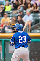 O'Koyea Dickson (23) of the Oklahoma City Dodgers at bat against the Salt Lake Bees in Pacific Coast League action at Smith's Ballpark on May 25, 2015 in Salt Lake City, Utah.  (Stephen Smith/Four Seam Images)
