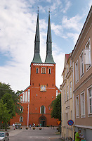The Vaxjo cathedral church. The front facade with its two spires. Vaxjo town. Smaland region. Sweden, Europe.