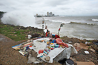 General view of a shelter in front of the sea while Tropical Storm Emily moves through Dominican Republic and Haiti;  the Tropical Storm Emily dissipated Thursday afternoon , but could regenerate in the next few days, according to the National Hurricane Center.  August 4, 2011 VIEWpress/  Kena Betancur