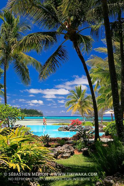 Les jardins de l'hôtel Le Méridien, Ile des Pins, Nouvelle-Calédonie