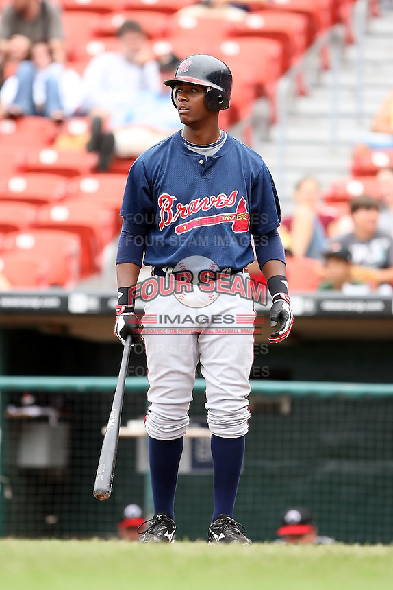 July 20th 2008:  Brandon Jones of the Richmond Braves, Class-AAA affiliate of the Atlanta Braves, during a game at Dunn Tire Park in Buffalo, NY.  Photo by:  Mike Janes/Four Seam Images