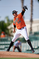 Baltimore Orioles pitcher Grayson Rodriguez (58) delivers a pitch during a Florida Instructional League game against the Pittsburgh Pirates on September 22, 2018 at Ed Smith Stadium in Sarasota, Florida.  (Mike Janes/Four Seam Images)