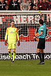 17.03.2019, BayArena, Leverkusen, GER, 1. FBL, Bayer 04 Leverkusen vs. SV Werder Bremen,<br />  <br /> DFL regulations prohibit any use of photographs as image sequences and/or quasi-video<br /> <br /> im Bild / picture shows: <br /> gelbe Karte für Jiri Pavlenka Torwart (Werder Bremen #1), von Schiedsrichter / referee Deniz Aytekin (SR)<br /> <br /> Foto © nordphoto / Meuter
