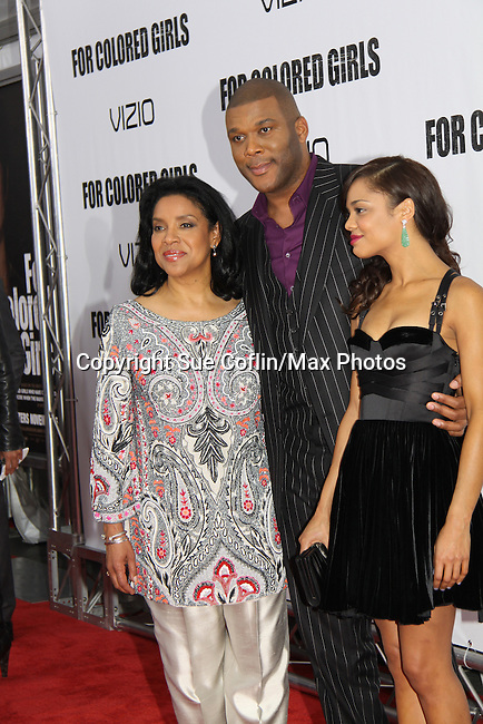 "Tyler Perry with Phylicia Rashad attending The New York Special Screening of Tyler Perry's next film ""For Colored Girls"" on October 25, 2010 at the Ziegfield Theater, New York City, New York. (Photo by Sue Coflin/Max Photos)"