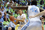 03 December 2014: North Carolina's Justin Jackson (44) and Joel James (42). The University of North Carolina Tar Heels played the University of Iowa Hawkeyes in an NCAA Division I Men's basketball game at the Dean E. Smith Center in Chapel Hill, North Carolina. Iowa won the game 60-55.