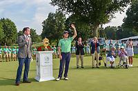 Justin Thomas (USA) receives a huge ovation during the trophy presentation for winning the 2018 World Golf Championships - Bridgestone Invitational, at the Firestone Country Club, Akron, Ohio. 8/5/2018.<br /> Picture: Golffile | Ken Murray<br /> <br /> <br /> All photo usage must carry mandatory copyright credit (© Golffile | Ken Murray)