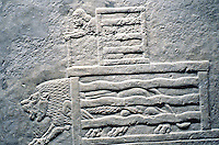 Assyria:  Lion being released from cage.  Palace of Ashurbanipal. Ritual slaying of lions.  Photo '90.
