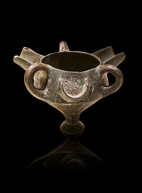 Bronze Age Anatolian terra cotta vessel with strainer - 19th to 17th century BC - Kültepe Kanesh - Museum of Anatolian Civilisations, Ankara, Turkey.  Against a black background.