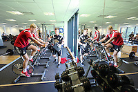 Pictured: David Cornell on the static bike. Wednesday 02 July 2014<br />