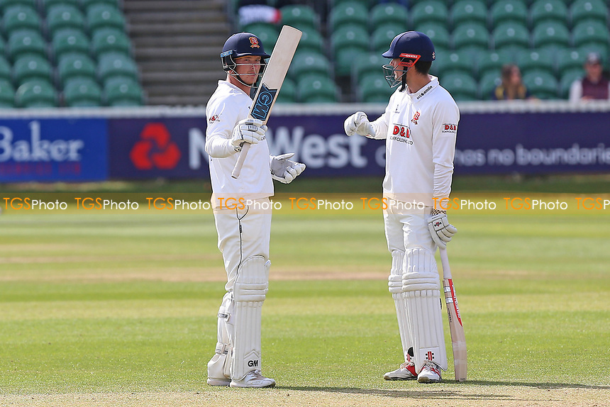 Tom Westley of Essex (L) celebrates scoring a half-century, 50 runs during Somerset CCC vs Essex CCC, Specsavers County Championship Division 1 Cricket at The Cooper Associates County Ground on 16th April 2017