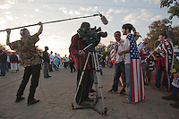 United States Fans (left to right) Mungai Boulch and Alex Leipziger from Washington D.C. are interviewed by SABC television outside the Royal Bafokeng Stadium before the 2010 World Cup first round match between USA and England in Rustenberg, South Africa on Saturday, June 12, 2010.