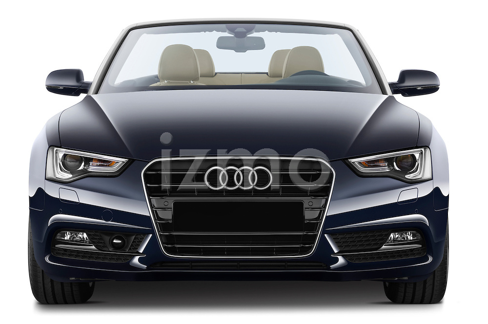 Straight front view of a 2013 Audi A5 Convertible with the top down..
