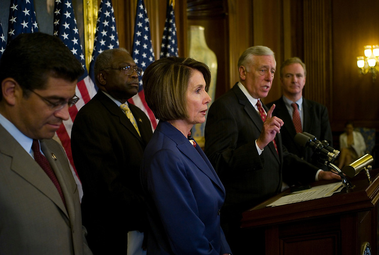 """WASHINGTON, DC - July 31: Democratic Caucus Vice Chairman Xavier Becerra, D-Calif., House Majority Whip James E. Clyburn, D-S.C., House Speaker Nancy Pelosi, D-Calif., House Majority Leader Steny H. Hoyer, D-Md., and DCCC Chairman Chris Van Hollen, D-Md., during a news conference before the August recounting their """"legislative accomplishments."""" (Photo by Scott J. Ferrell/Congressional Quarterly)"""