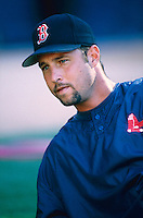 Tim Wakefield of the Boston Red Sox at Anaheim Stadium in Anaheim,California during the 1996 season. (Larry Goren/Four Seam Images)