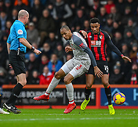 Bournemouth's Junior Stanislas (right) battles with Liverpool's Fabinho (left) <br /> <br /> Photographer David Horton/CameraSport<br /> <br /> The Premier League - Bournemouth v Liverpool - Saturday 8th December 2018 - Vitality Stadium - Bournemouth<br /> <br /> World Copyright © 2018 CameraSport. All rights reserved. 43 Linden Ave. Countesthorpe. Leicester. England. LE8 5PG - Tel: +44 (0) 116 277 4147 - admin@camerasport.com - www.camerasport.com