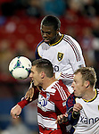 FC Dallas forward Kenny Cooper (33), Real Salt Lake defender Chris Schuler (28) and Real Salt Lake defender Nat Borchers (6) in action during the game between the FC Dallas and the Real Salt Lake at the FC Dallas Stadium in Frisco,Texas.