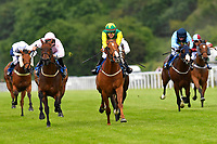 Winner of The Shadwell Stud Racing Excellence Apprentice Handicap Madrinho (yellow silks) ridden by Poppy Bridgewater and trained by Tony Carroll during Afternoon Racing at Salisbury Racecourse on 12th June 2018