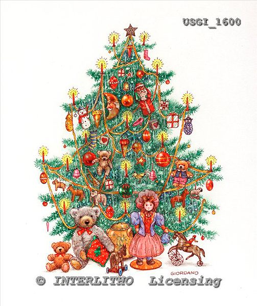 GIORDANO, CHRISTMAS ANIMALS, WEIHNACHTEN TIERE, NAVIDAD ANIMALES, Teddies, paintings+++++,USGI1600,#XA#