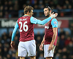 West Ham's Nikica Jelovic argues with Andy Carroll<br /> <br /> Barclays Premier League - West Ham United v Stoke City - Upton Park - England -12th December 2015 - Picture David Klein/Sportimage