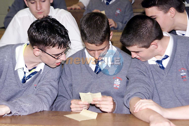 Joseph Barry from Greenhills opening up his Junior Cert results in St. Joseph's..Picture Paul Mohan Newsfile