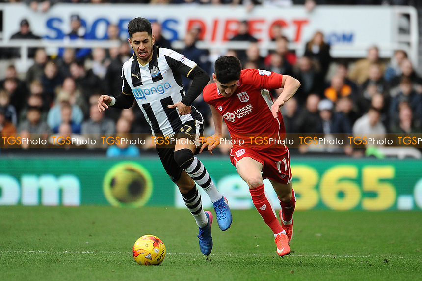 Ayoze Perez of Newcastle United battles with Callum O'Dowda of Bristol City during Newcastle United vs Bristol City, Sky Bet EFL Championship Football at St. James' Park on 25th February 2017