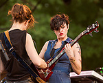 Raleigh, North Carolina- August 11, 2017<br /> <br /> (left to right) Mary Timony and Betsy Wright of Ex Hex. <br /> <br /> Ex Hex and Waxahatchee played an outdoor concert with MERGE Records label mates Superchunk at the North Carolina Museum of Art. (Photo by Jeremy M. Lange for The New York Times)