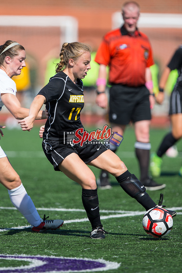 Carrie Taylor (17) of the Appalachian State Mountaineers during first half action against the High Point Panthers at Vert Track, Soccer & Lacrosse Stadium on August 26, 2016 in High Point, North Carolina.  The Panthers defeated the Mountaineers 2-0.  (Brian Westerholt/Sports On Film)