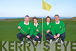 CAPTAINS DRIVE: Michael O'Connolly (captain), Monica O'Neill (lady captain), Cora O'Mahony (lady president) and Michael Coote (president) of Tralee Golf Club at the captains drive at the Barrow course on Sunday.