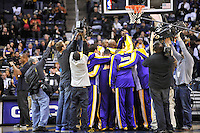 The Los Angeles Lakers huddle prior to tip-off against the Washington Wizards at the Verizon Center in Washington, DC on Tuesday, January 26, 2010.  Alan P. Santos/DC Sports Box
