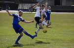 Edinburgh City 1 Cove Rangers 1, 30/04/2016. Commonwealth Stadium, Scottish League Pyramid Play Off. First-half action from the Scottish pyramid play-off second leg between Edinburgh City (in white) and Cove Rangers at the Commonwealth Stadium at Meadowbank in Edinburgh. The match between the champions of the Lowland and Highland Leagues determined which club would play-off against East Stirlingshire for a place in the Scottish league. The second leg ended 1-1, giving Edinburgh City a 4-1 aggregate win. Photo by Colin McPherson.