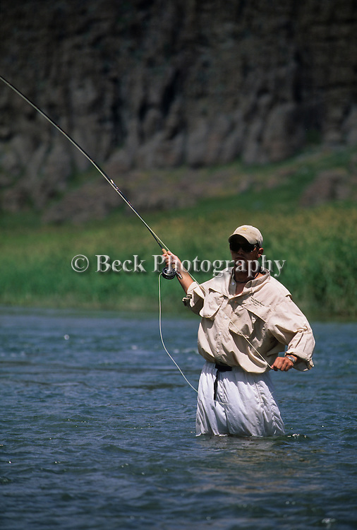 Guide Mitchell Allen fly fishing on the Teton River in Idaho.